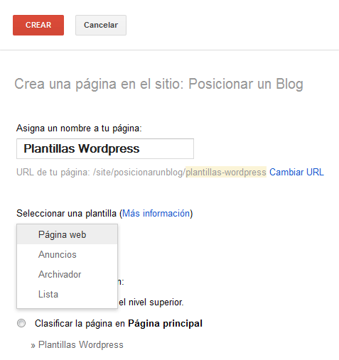 Cómo posicionar mi blog - Google Sites - elegir formato